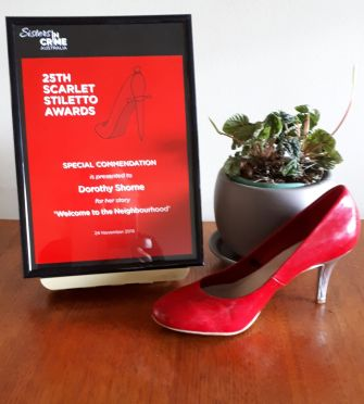 Scarlet Stiletto Award for my short story.